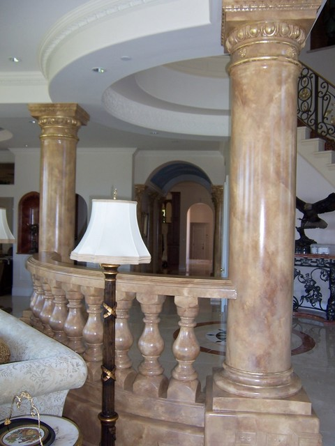 Faux Stone Columns : Painted marbles faux stone columns and mantles
