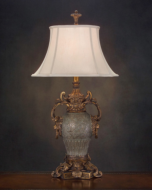 John Richard 38u0026quot;H Antique Gold and Silver Urn Lamp - Contemporary - Lamp Shades - charlotte - by ...