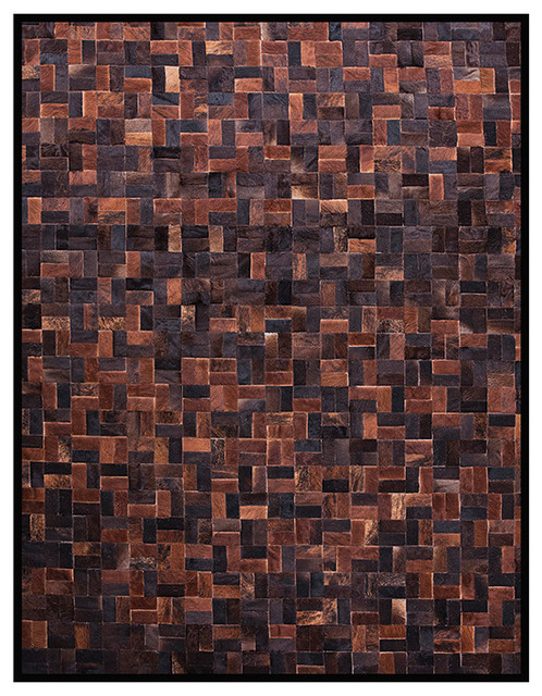 Zag Bloc Quilted Hide Rug - Brown - Zag Cowhide Rugs modern-side-tables-and-end-tables