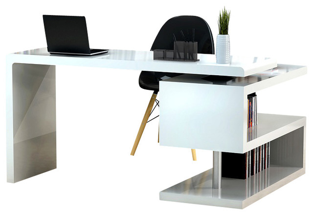 a33 modern office desk in white lacquer modern desks and hutches