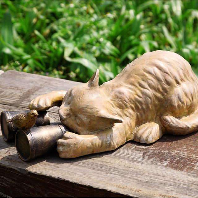 Cat with binoculars garden sculpture eclectic garden for Cat yard art