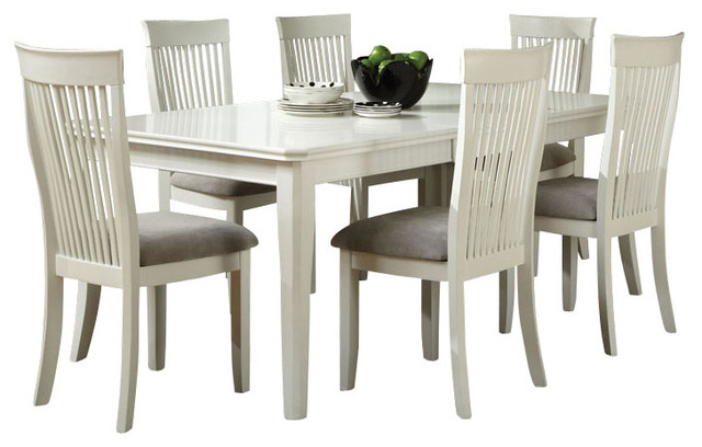 Regency white 7 piece dining room set in white traditional dining sets