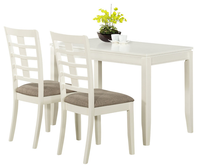 white veneer 3pc space saver table set contemporary dining sets