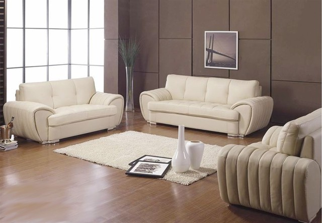 Ibio 3 Pieced Leather Sofa Set White Leather Sofas
