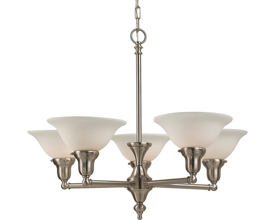 Royce Lighting - Royce Lighting Essex Collection 5-Light Chandelier with Pewter Finish - Begin with a chandelier that complements your lifestyle, classic school house meets design sophisticate. Trendy yet timeless is the Essex Collection's five light chandelier in a pleasing pewter finish paired with white frosted glass shades. Requires 5-medium 120-Watt maximum bulbs. Royce Lighting, Elegance for America's Homes.
