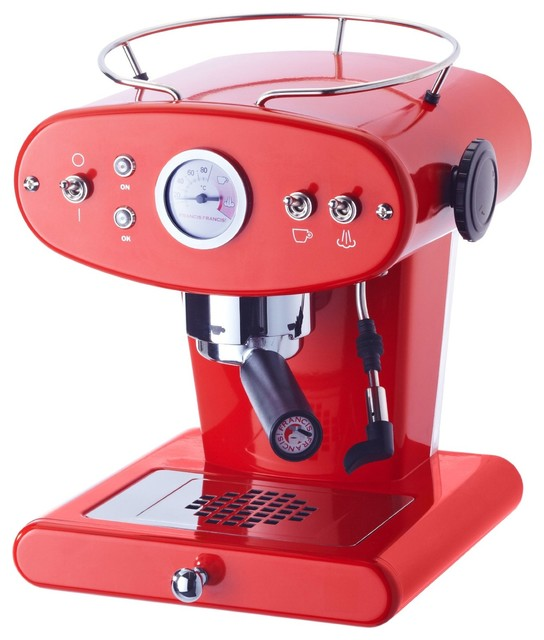 Illy FrancisFrancis! 6141 X1 Trio Espresso Machine, Red modern-coffee-makers-and-tea-kettles