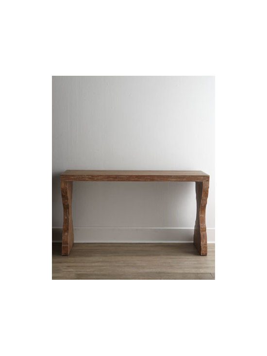 """Ambella - Ambella """"Timeless"""" Console - Clean lines and timeless design emanate from this console handcrafted of the finest wood by skilled artisans. Perfect for any space from the entryway to the media room. Made of solid mindi wood. Dark driftwood finish. 60""""W x 20""""D x 33""""T. Imported. ...."""