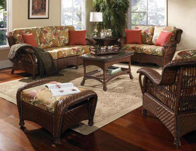 Casablanca Wicker Rattan Furniture Set of 5 Tropical