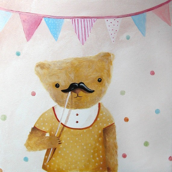 Moustache on a Stick Portrait on Canvas by Inameliart on Etsy contemporary nursery decor