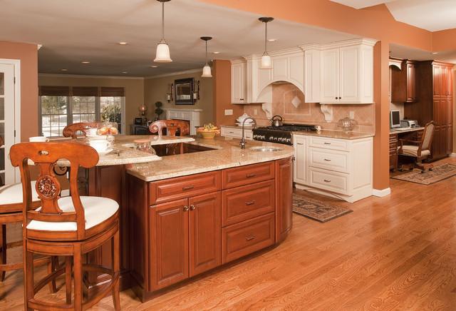 Stately Cream & Cherry modern-kitchen