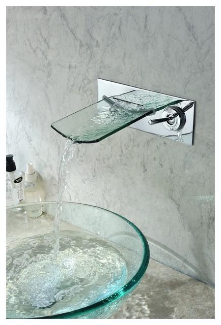 Sumerain S1208CW Wall Mounted Waterfall Bathroom Sink Faucet Chrome Modern