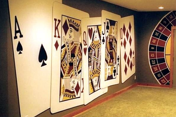 Poker Playing Cards Wall Murals Hand Painted By Tom Taylor