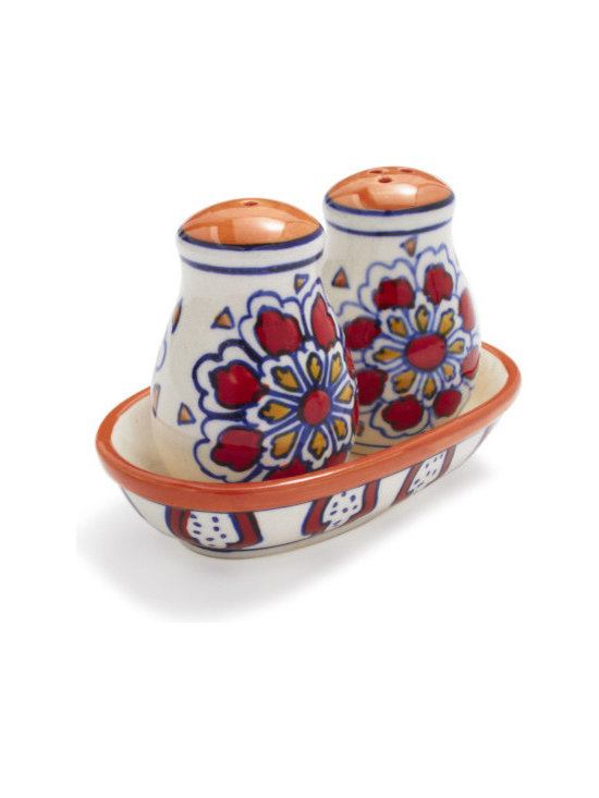 Red Floral Ceramic Salt and Pepper Shakers -