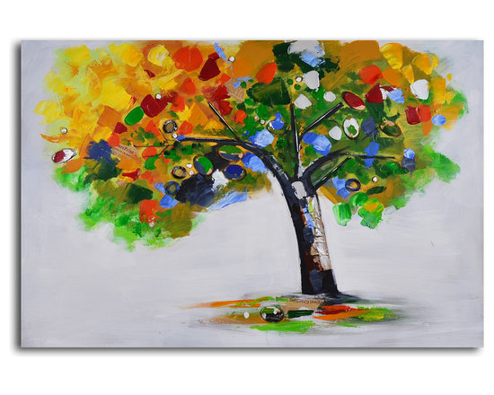 Bejeweled papered tree Hand Painted Canvas Art - This modern take on fall foliage will hang beautifully in your home all throughout the year. A rich color palette gives you endless opportunities to layer accent pieces in shades of yellow, green and blue. The hand-painted canvas will be a welcome addition to your living room or den.