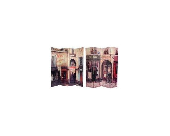 Functional Art/Photography Printed on a 6ft Folding Screen - 6ft tall four panel folding screen with double sided printed images of a French cafe