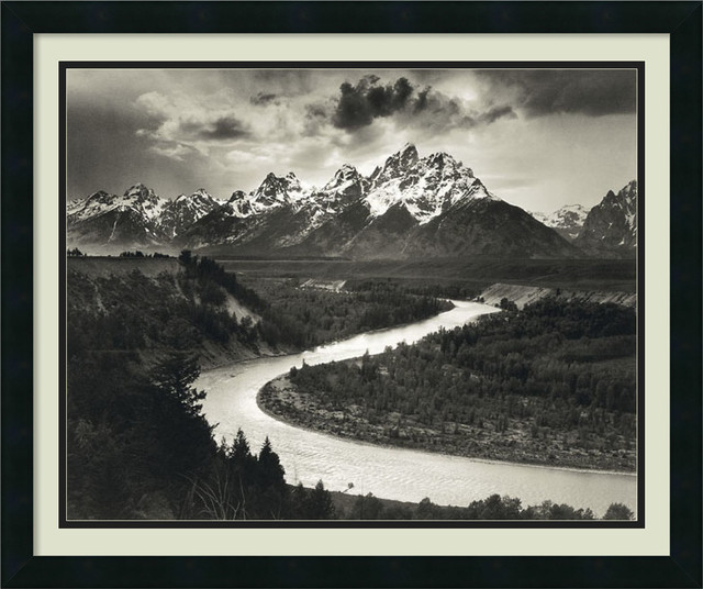The Tetons and the Snake River, Grand Teton National Park, Wyoming, Framed Print traditional-prints-and-posters