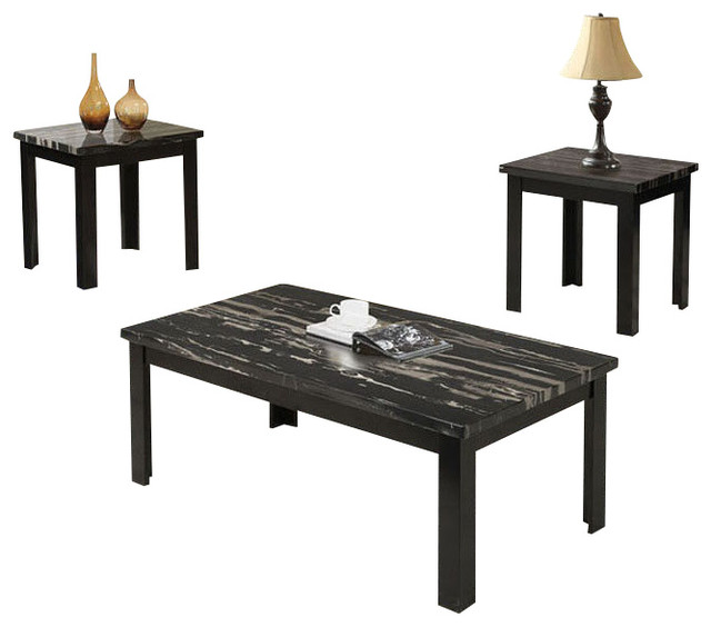 3 Pc Wooden Block Legs Black Faux Marble Top Coffee End Occasional Table Set Contemporary