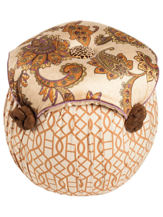 Salmagundi - Salmagundi  Moroccan Tuffet - Truly fit for a king and you can just visualize a king's feet on this tuffet. Colorful, whimsical and welcoming, put your feet up and call for the jester. You have one, don't you?