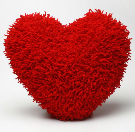 Shaggy Chenille Heart Pillow eclectic kids bedding