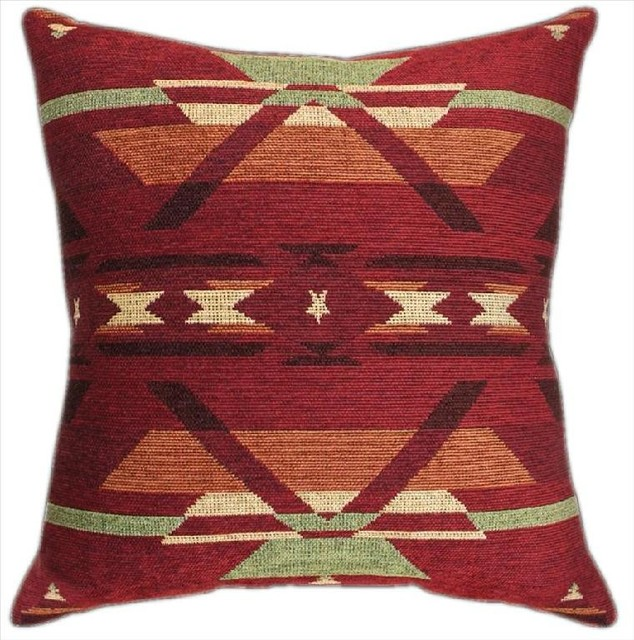 Southwestern Pillows And Throws : Pair of Southwestern Flame Geometric Print Tapestry Throw Pillows - Traditional - Decorative ...