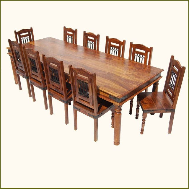 Rustic 11 pc large solid wood dining table chairs set for for Large dining room chairs