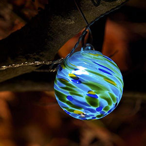 Glass String Lights Outdoor : Aurora Glow Solar String Lights, Sea Glass Swirl - Contemporary - Outdoor Lighting - by lamplust.com