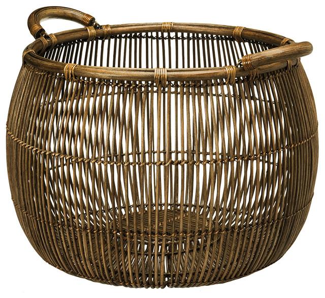 Open Weave Rattan Storage Basket - Contemporary - Baskets - other metro - by KOUBOO