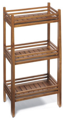 Teak Three-tier Rectangular Shelf traditional-display-and-wall-shelves