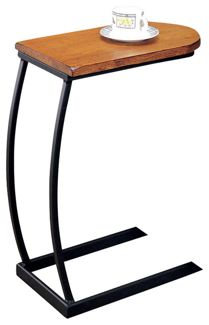 UShaped Distressed Oak Wood Black Metal Base Accent End Chair Side Snack Tab