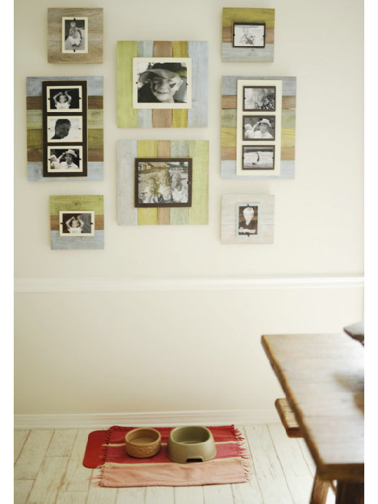 Tropic Reclaimed Wood Frames - Now available in a Cape Code style tropic wash -our reclaimed frames crafted of weathered and painted wood have a cream colored interior frame surrounded by burlap to feature your favorite photos. Easy front loading, clamping system under Plexiglas makes photo updates a breeze. Available in four styles.
