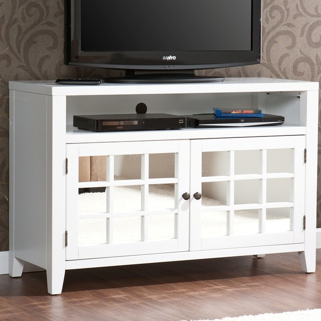 Upton Home Chapman White TV Media Stand Contemporary