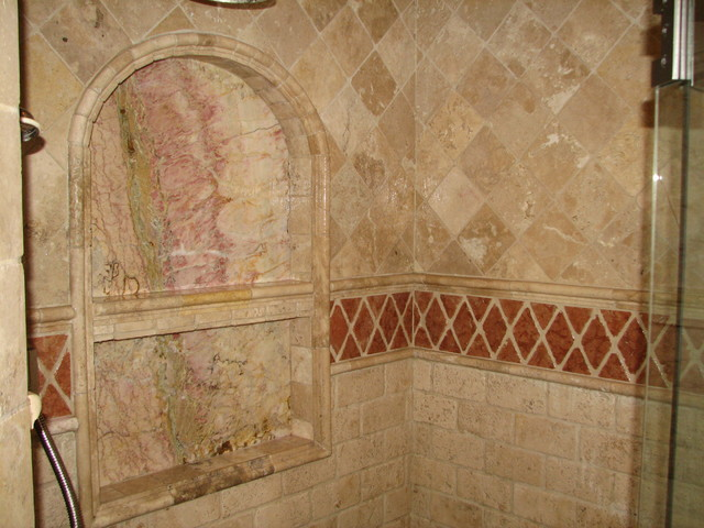 French Country Master Bath Addition Marble Niche traditional-bathroom