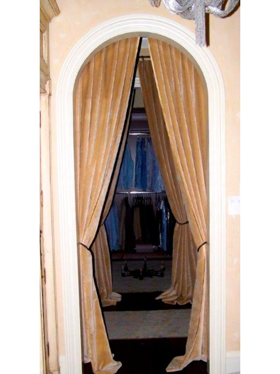 Drapery Ideas - Drapery being used instead of doors for this Master closet.