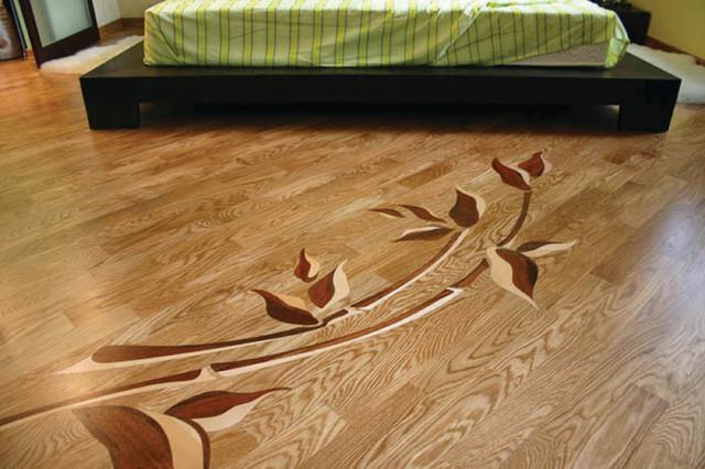 Flowers wood inlay in master bedroom by czar floors for Inlaid wood floor designs