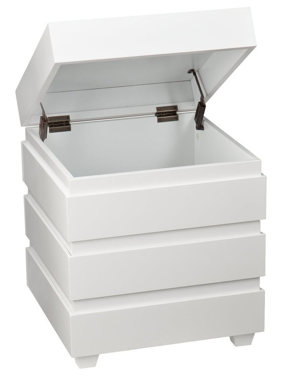 """Holly & Martin - Holly & Martin Lavrock End Trunk - White X-8467KC - Small space storage unhinged. The Lavrock End Trunk hits the mark for both style and storage. Conveniently conceals clutter inside and shines as an end table with distinctive edging and clean lines. This sleek white end trunk balances the living room, but don't box it in there - use your imagination to work it in anywhere.  - OVERVIEW                                                                                              - Safety hinge to reduce risk of slam injuries                                                          - Padded feet to prevent scuffs                                                                         - Linear edging for a modern style                                                                      - Glossy white finish                                                                                   - DETAILS                                                                                               - Tabletop: 18.5"""" W x 18.5"""" D (to lip)                                                                  - Interior: 17.75"""" W x 17.75"""" D x 16.75"""" H                                                              - Clearance below: 15"""" W x 15"""" D x 1.75"""" H                                                              - Supports up to: 40 lb. (top), 40 lb. (interior)                                                       - Materials: MDF, birch veneer, solid pine                                                              - Assembly: required                                                                                    - Overall: 20"""" W x 20"""" D x 23.75"""" H"""
