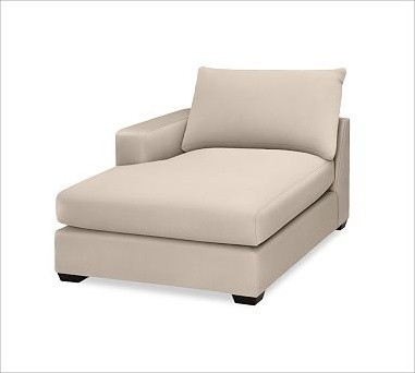 Hampton Upholstered Left Arm Chaise Brushed Canvas Stone Traditional Ind