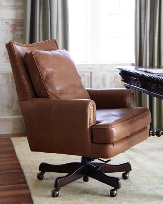 Tucker Leather Office Chair - traditional - task chairs - by Horchow