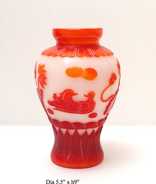 Chinese Orange White Overlay Peking Glass Vase Asian