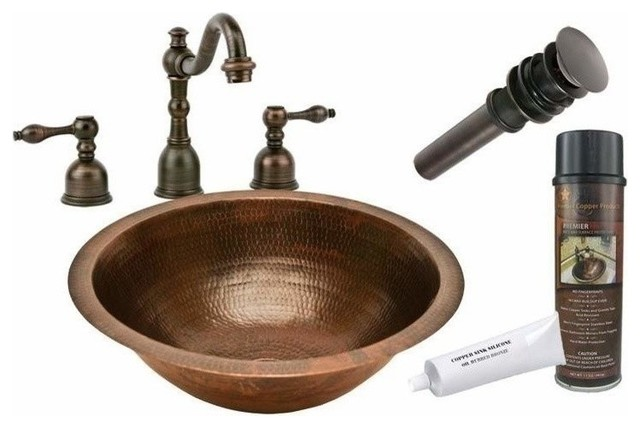 Undermount Round Copper Sink W ORB Faucet Rustic Bathroom Sinks