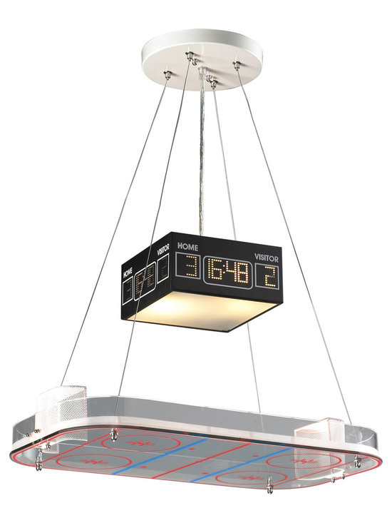 Hockey Rink Pendant Light - No matter if they cheer for the Red Wings or the Blackhawks, the Hockey Rink Pendant Light is a unique and whimsical addition to the ultimate hockey fan's bedroom or playroom. This novelty pendant light comes complete with a lined glass rink and an illuminated scoreboard. Includes 6 feet of cable.