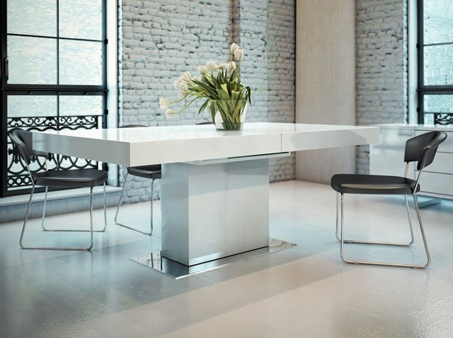 Modloft Astor Dining Table In White Lacquer Modern Dining Tables