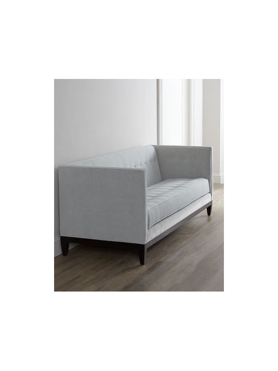 "Old Hickory Tannery - Old Hickory Tannery ""Tucker"" Sofa - A simple yet striking silhouette with high arms, this button-tufted sofa is covered in durable, easy-to-clean fabric and is available in a choice of colors. Select color when ordering. Hardwood frame has coffee bean finish. Upholstery is polyester/ac..."
