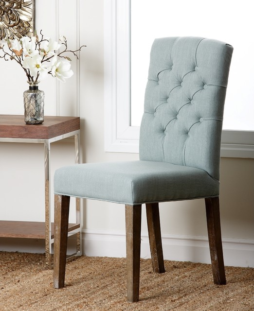 Colin Blue Linen Tufted Dining Chair Contemporary Dining Chairs By Over