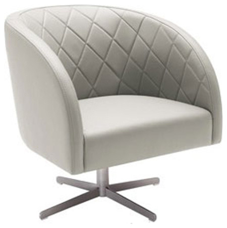 Top Grain Leather Swivel Chair Grey Contemporary