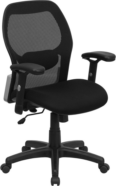 Mid-Back Super Mesh Office Chair with Black Fabric Seat contemporary-office-chairs