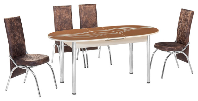 M-18 Brown Elliptical Oval Extendable dining table set - modern ...