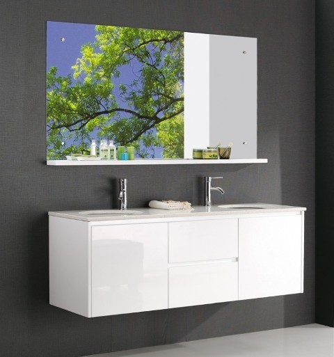 Luxur 1500 Double Basin White Vanity Contemporary Bathroom Vanity Units