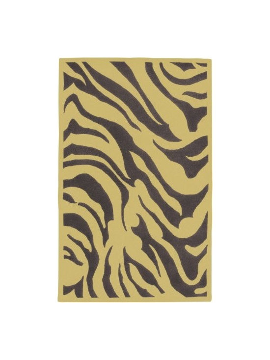 Surya Rugs - Goa Dark Plum Zebra Printed Rug Size: 2' x 3' - 100% New Zealand Wool. Style: Animal. Rugs Size: 2' x 3'. Note: Image may vary from actual size mentioned.