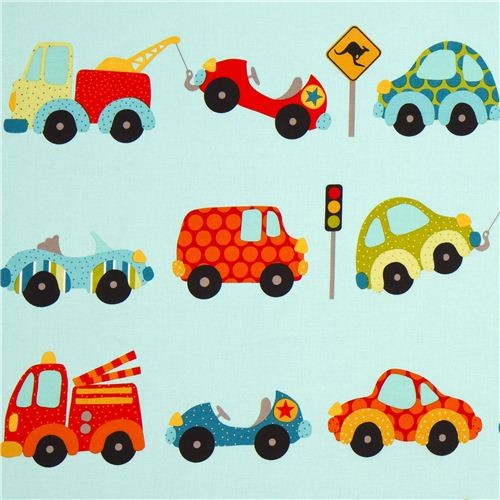 turquoise Riley Blake fabric car traffic fire engine fabric