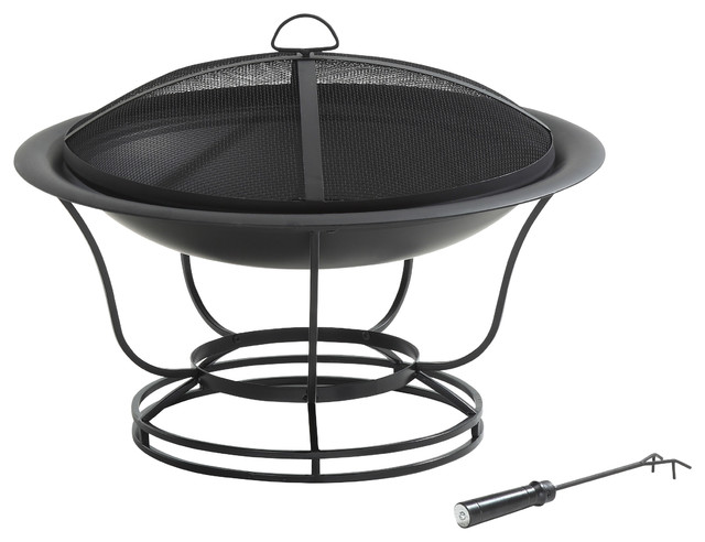 Round Fire Pit transitional-firepits